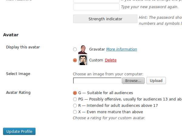 The Avatar Manager plugin options under the User Your Profile Screen