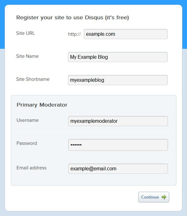 Screenshot 1: Registering a new account on Disqus