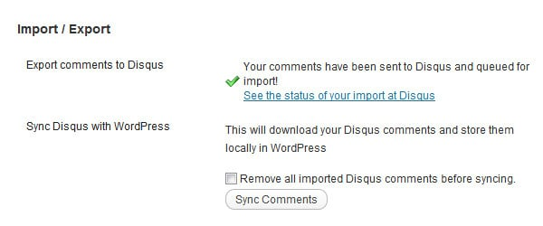 Screenshot 5: Exporting existing comments to Disqus - step 2