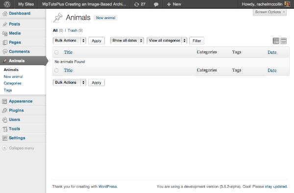 The WordPress admin showing the listing page for the new 'animals' custom post type