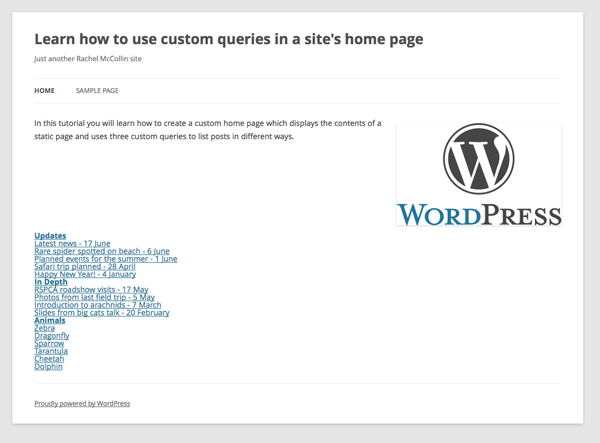 the home page with all queries added