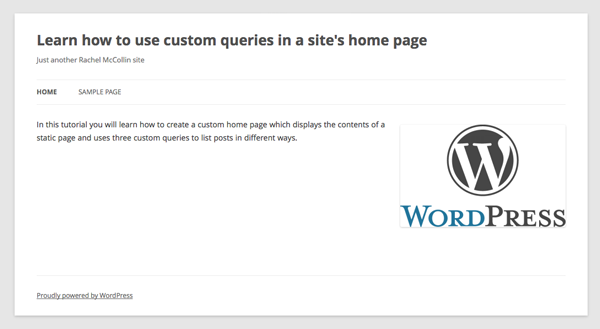 the home page with static page content