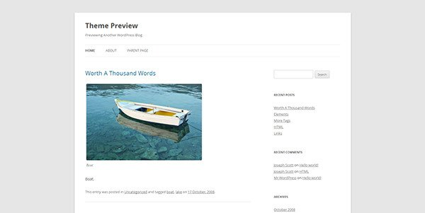 Single column sidebar design example: Twenty Twelve WordPress Theme