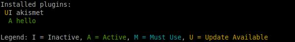 `wp plugin status` output