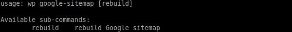 `wp sitemap help` output