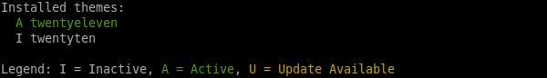 `wp theme status` output