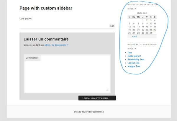 Page with custom sidebar