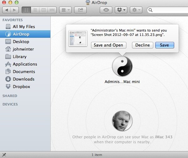 Using AirDrop to Receive a File