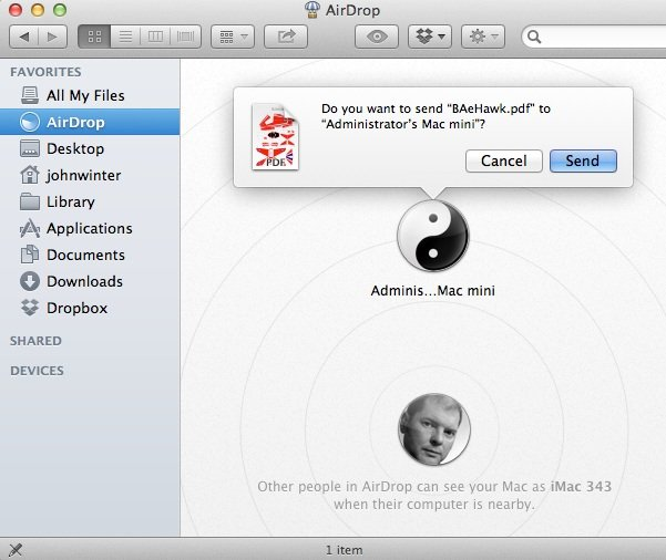 Using AirDrop to Send a File
