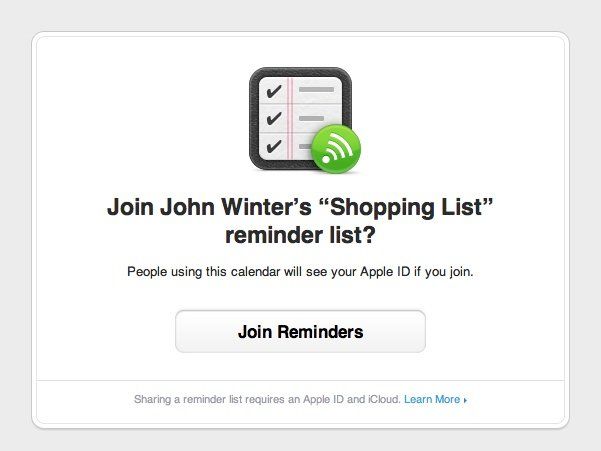 Accepting an Invite to Join a Reminders List