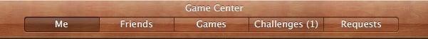 Game Center Menu bar