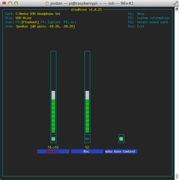 'alsamixer' controls some functions of the audio output, mainly volume.