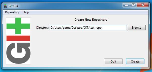 Git Gui New Repository