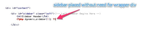 Sidebar Placement Code