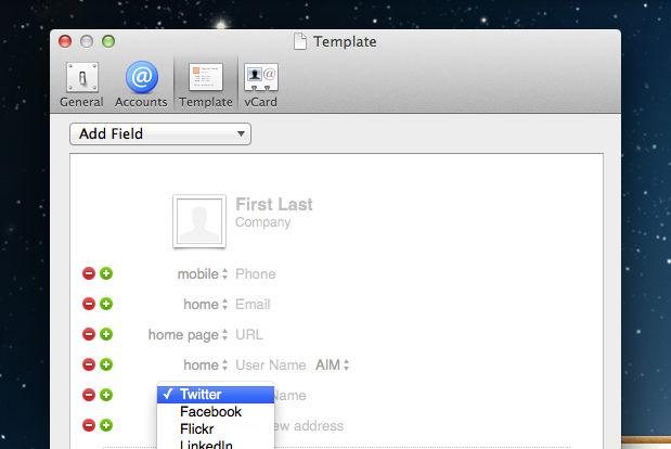 Contacts template