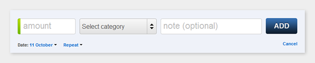 The income/expense entry dialog in cashbase