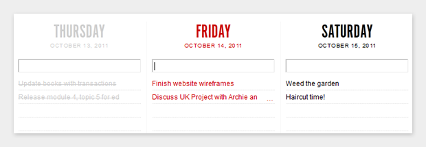 Yesterday, today and tomorrow in Teuxdeux
