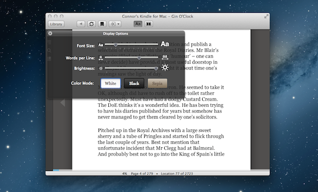 Kindle for Mac, available for free in the Mac App Store.