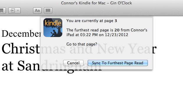 The Kindle for Mac app, here prompting me to sync to a further page as it has been read more recently on a different device.