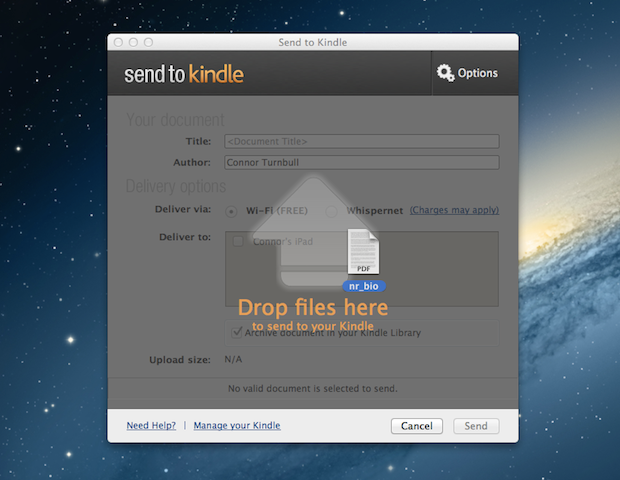 The drag-and-drop method in Send to Kindle.