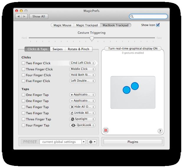 Configuring custom clicks and taps.