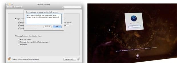A custom message on my Mac's lock screen.