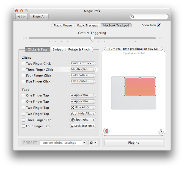 Adding a custom zone to a gesture for the personal touch.