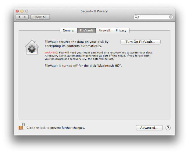 Enabling FileVault encryption.