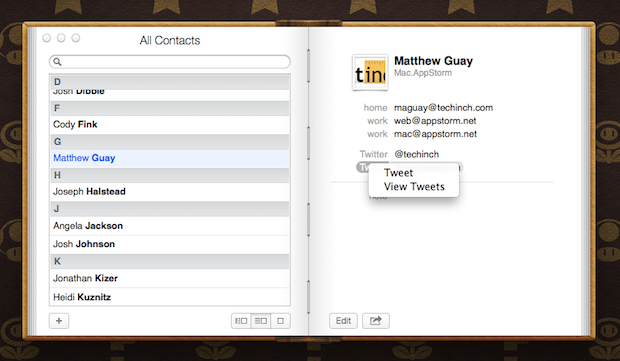The Twitter options.