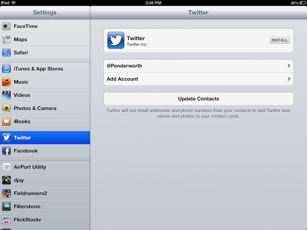 IOS Twitter integration on an iPad.