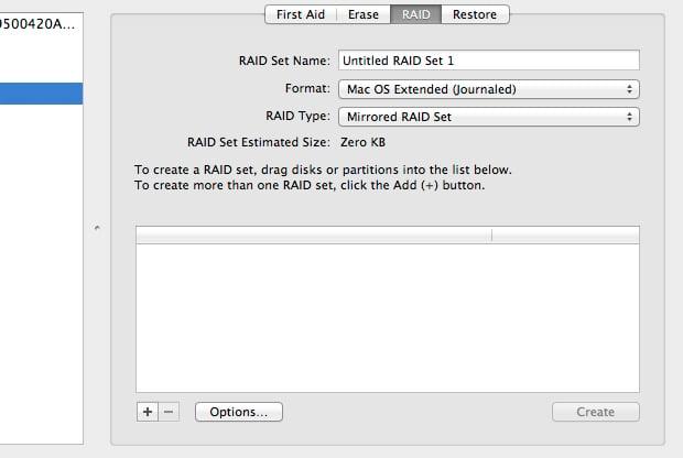 The RAID tab