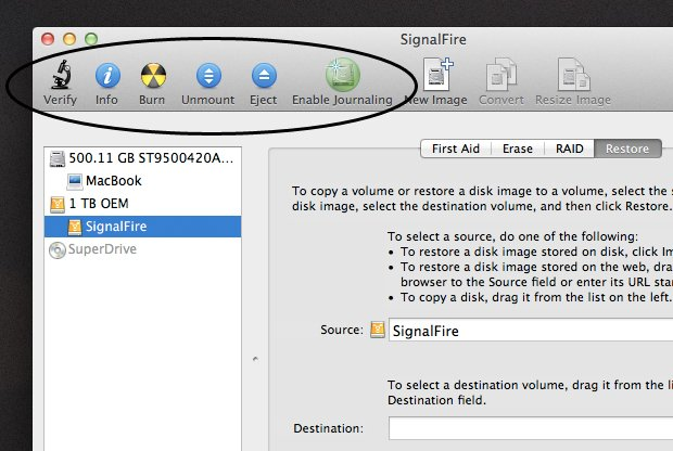 The Basic Disk Utility Options