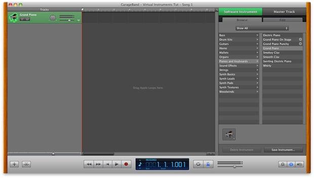 GarageBand's main interface