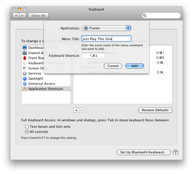 Setting a Keyboard Shortcut