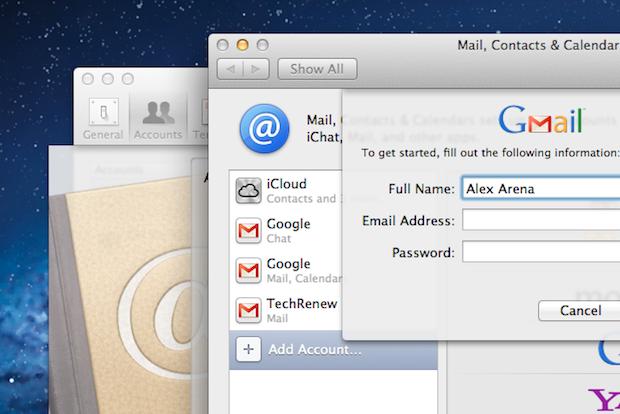 Adding a Google Account in Mac OS X Lion