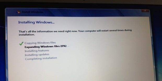 Installing Windows, just like on any machine