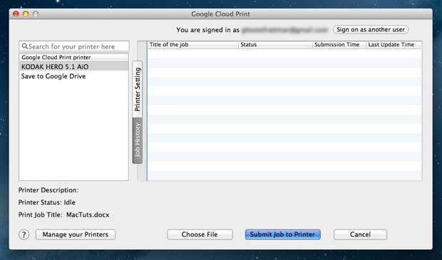 Cloud Printer Job Submission