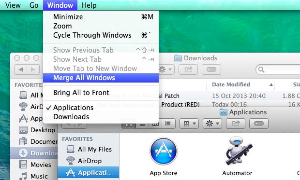 Merging and de-merging windows in Finder is super simple.