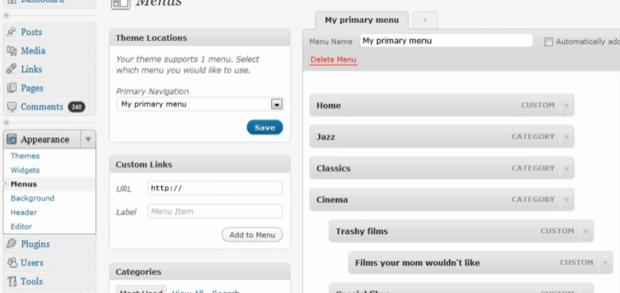 Custom Menus in WordPress 30