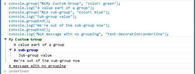 grouping in the console