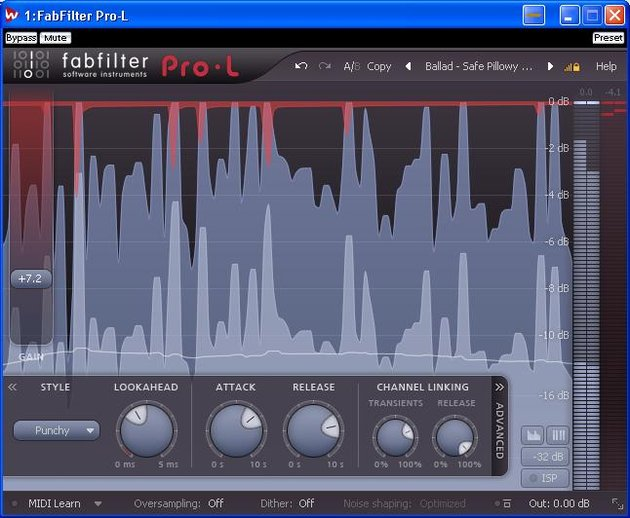 Fabfilter's Pro-L mastering limiter showing style option