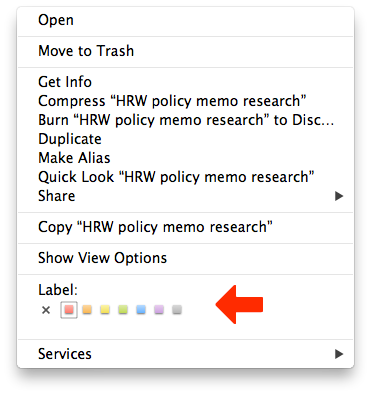 The right click menu gives you access to your labels.