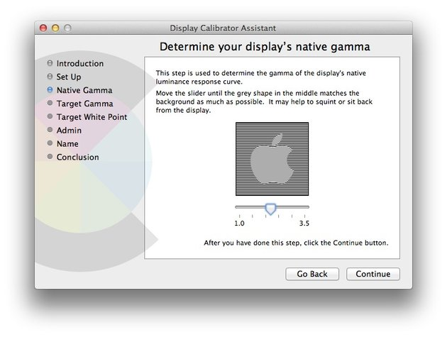 Calibrator Assistant will prompt you to adjust the slider to suit your displays Native Gamma