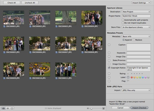 The importing tool shows all the pictures on your media device letting you choose which pictures to import.