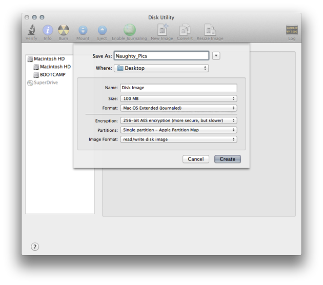 Encrypted disk images is the free alternative to MacHider.  It does have some limitations, however.