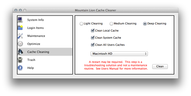 The Cache Cleaning page in Mountain Lion Cache Cleaner