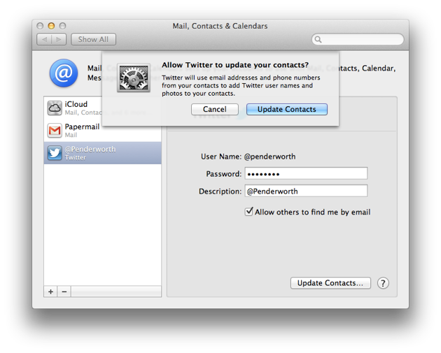 Updating the contacts.