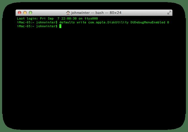 Turning off the Debug Menu item in Disk Utility
