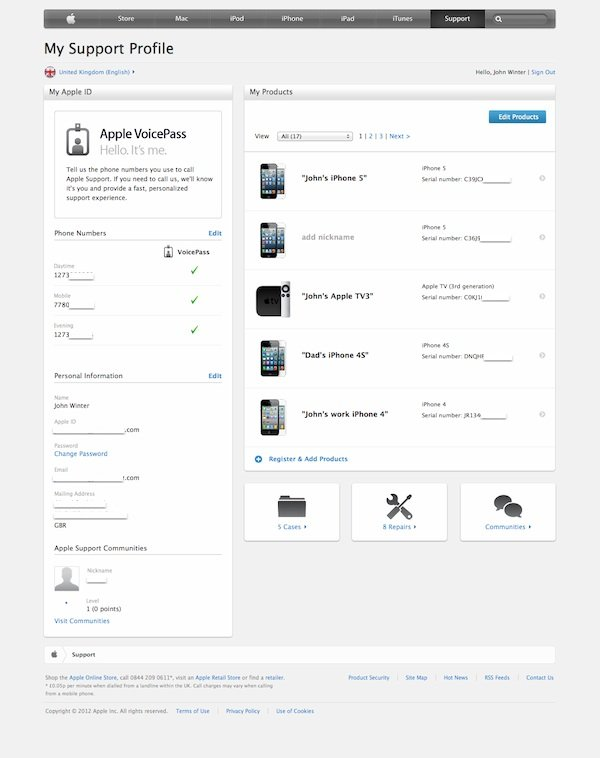 Apple Support Profile Page