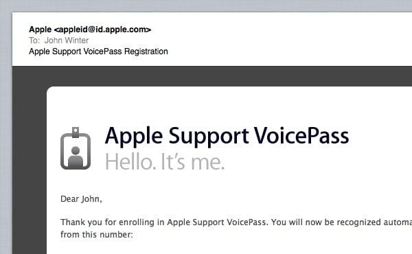 VoicePass Registration Confirmation